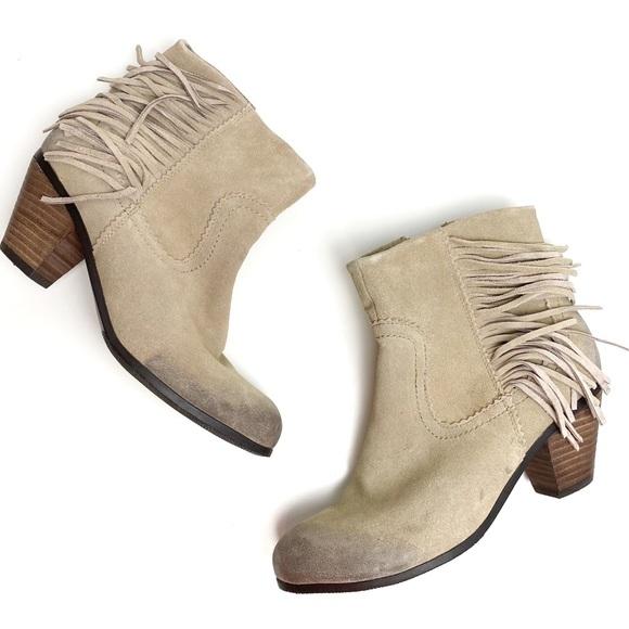 Crown Vintage Suede Fringe Heel Ankle Boots